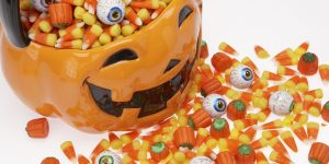 Halloween basket overflowing with candy corn