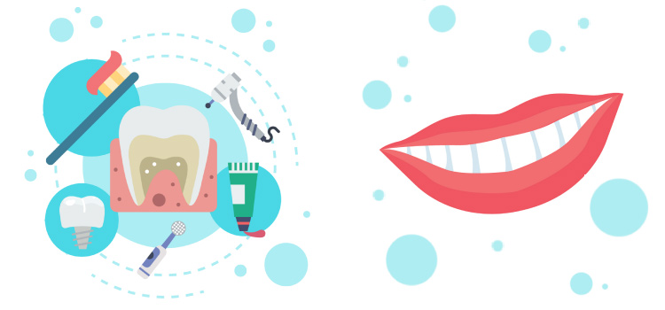 illustration of toothbrush, tooth, toothpaste, dental drill, and mouth