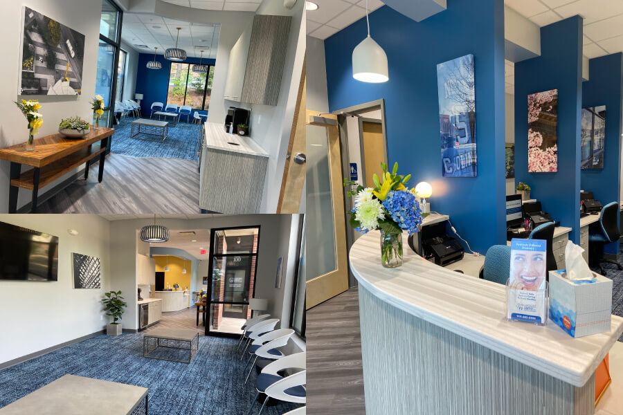 3 pictures showing the front desk & lobby of CarolinasDentist in Chapel Hill, NC